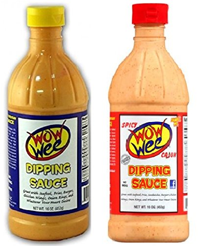 Wow Wee Dipping Sauce Bundle - One each of Original 16 Ounce and Spicy Cajun 16 Ounce Bottles