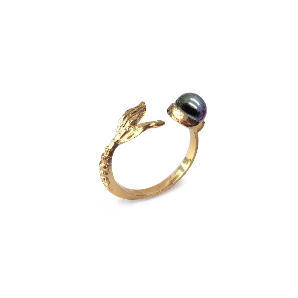 Mermaid Tail with Black Pearl Ring