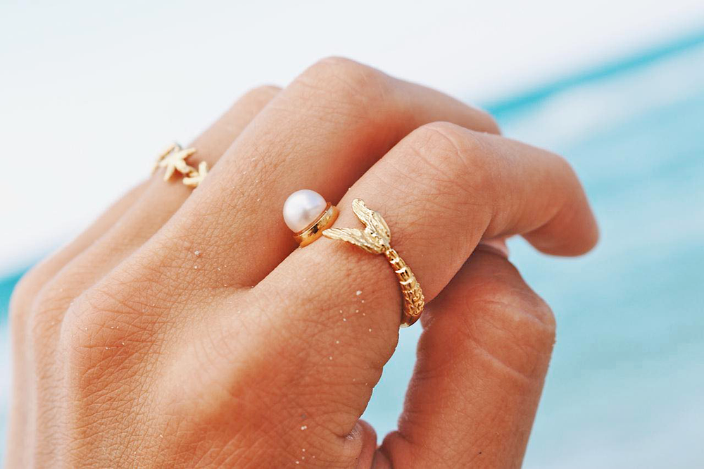Mermaid Tail and White Pearl Ring