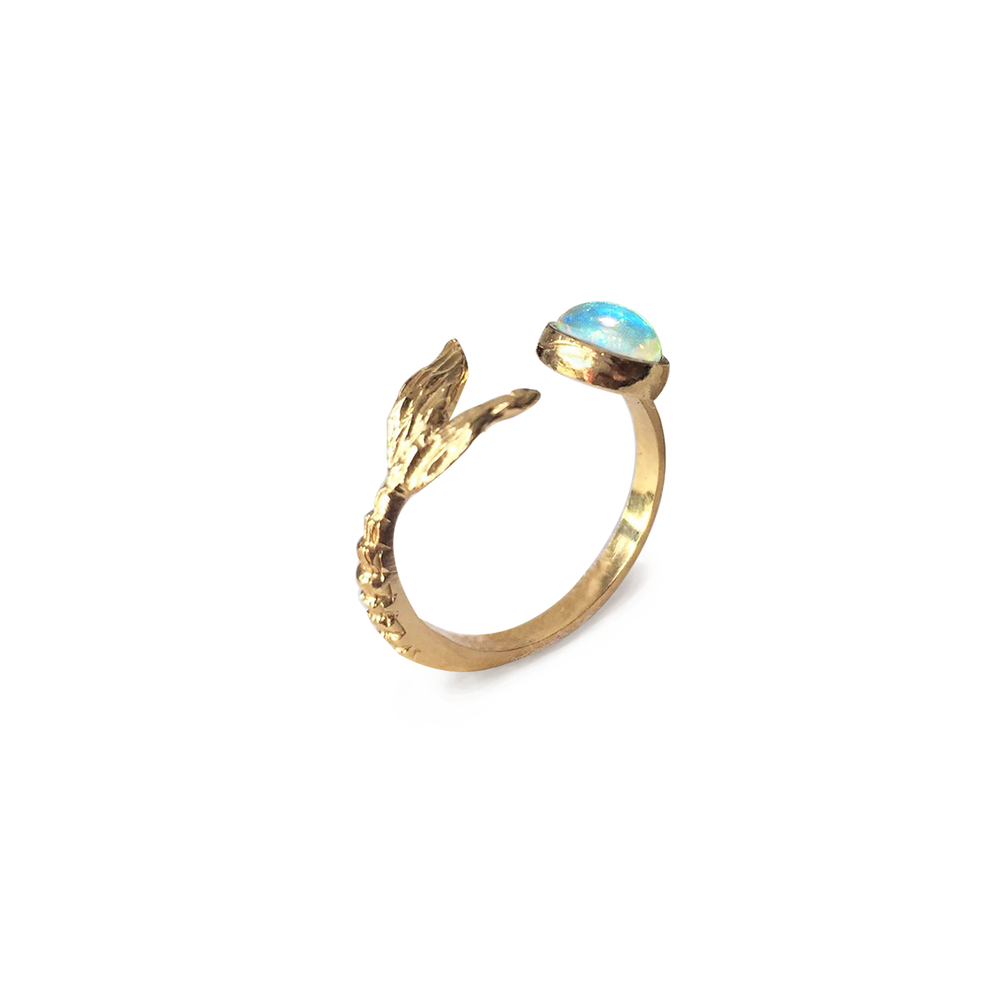 Mermaid Tail with Fire Opal Ring
