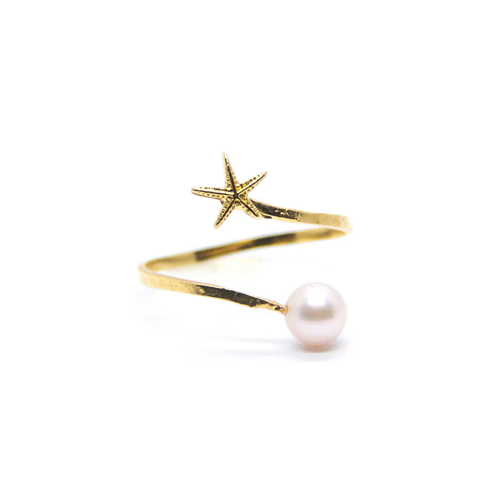 Mini Starfish with White Pearl Spiral Ring