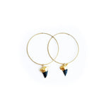 Black Shark Tooth Hoop Earrings