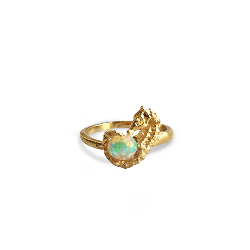 Seahorse and Fire Opal Ring