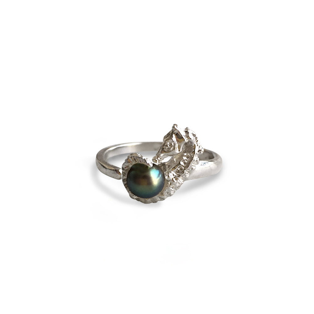 Seahorse with Black Pearl Ring