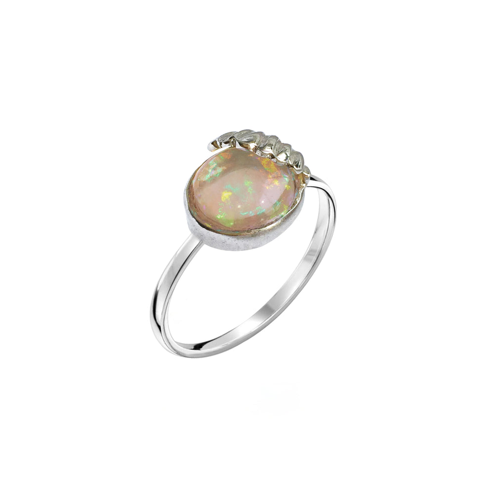 Shell and Fire Opal Ring