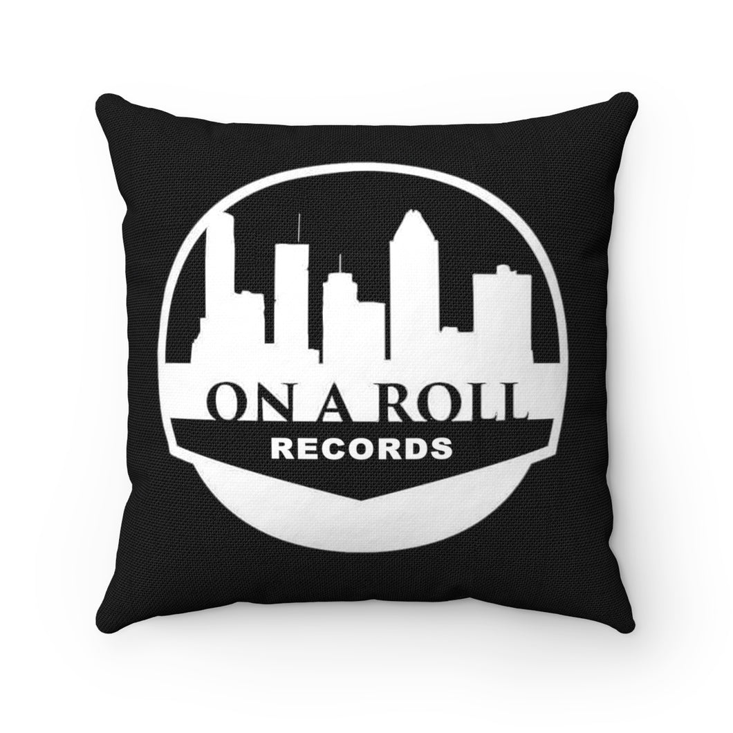 On a Roll Records Black Square Pillow