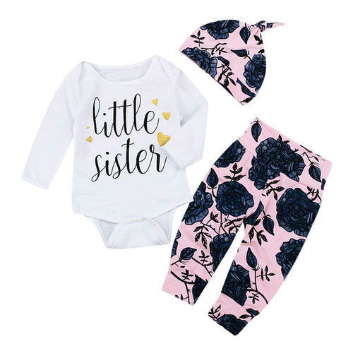Newborn Infant Baby Girls Letter Romper+Flower