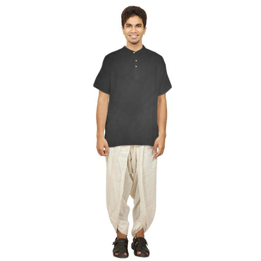 Mens Half Sleeve Hemp Kurta - Black - Isha Life AU
