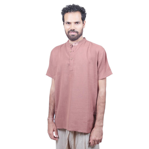 Men Brick Embroidered Aum Kurta - Organic Cotton - Isha Life AU