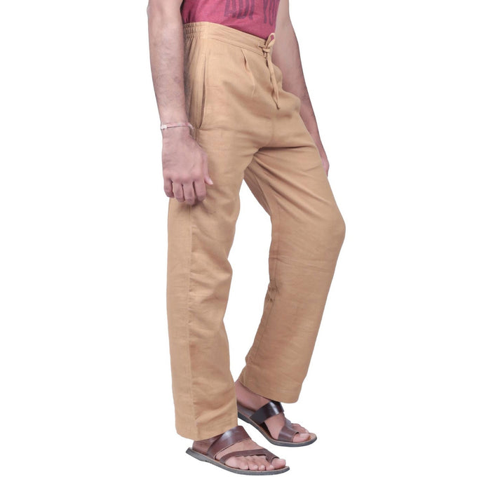 Men Khaki Knitted Drawstring Pants - Organic Cotton - Isha Life AU