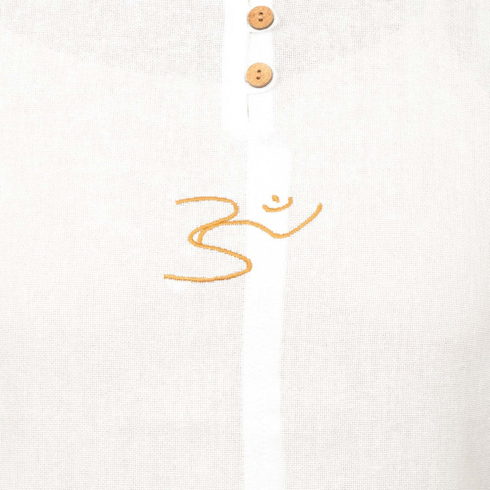 Women White Embroidered AUM Kurta - Organic Cotton