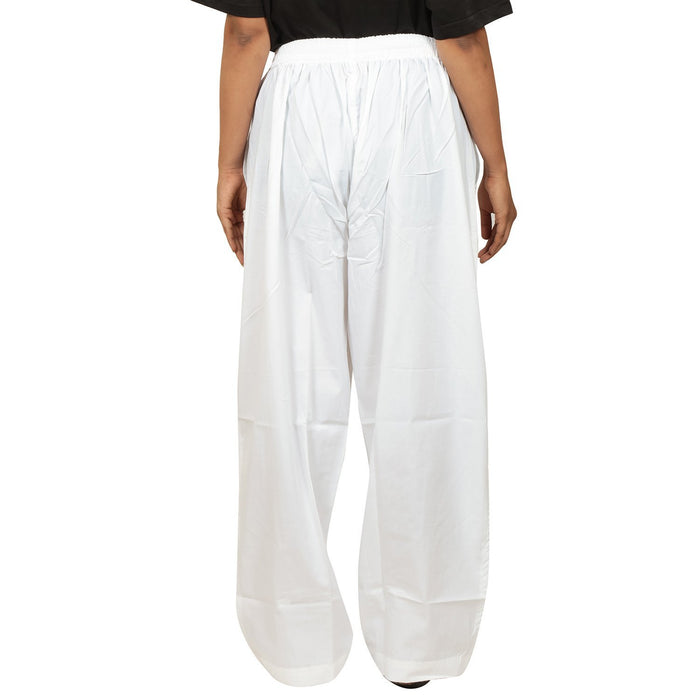 Ladies Draw String Pant in Fine Cotton - White - Isha Life AU