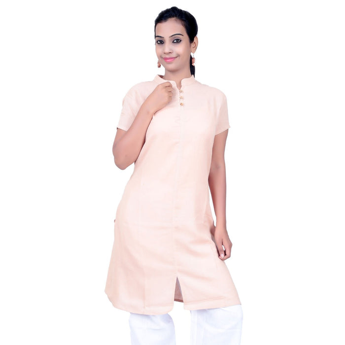 Women Beige Emroidered Aum Kurta - Organic Cotton