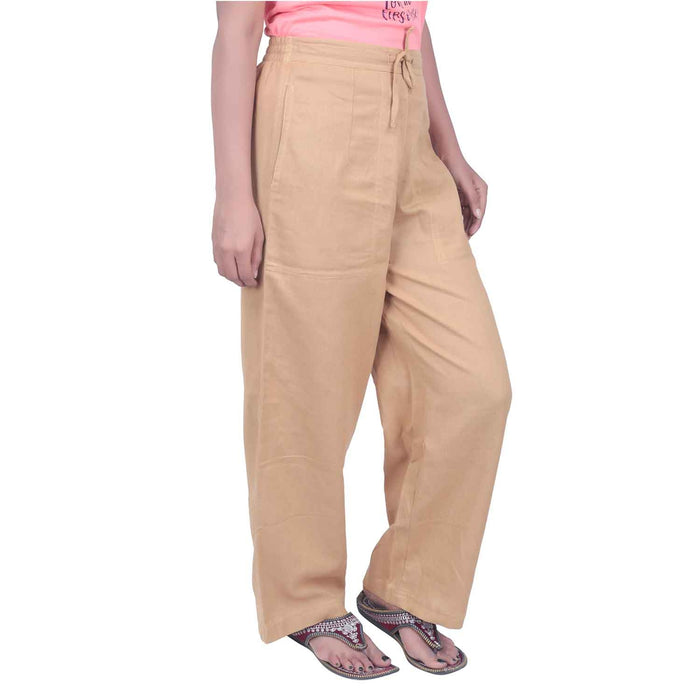 Women Khaki Knitted Drawstring Pants - Organic Cotton - Isha Life AU