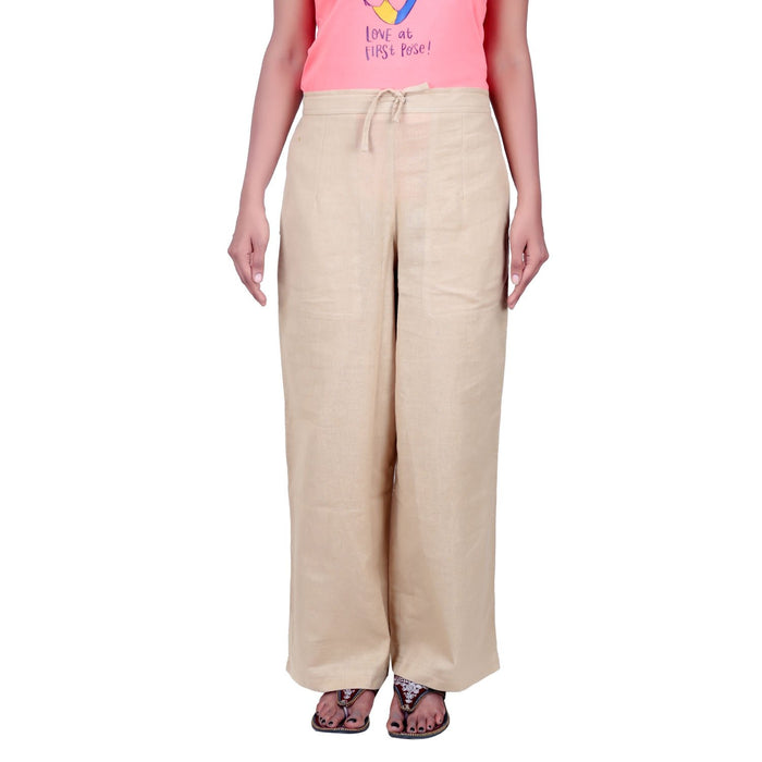 Women Beige Knitted Drawstring Pants - Organic Cotton - Isha Life AU