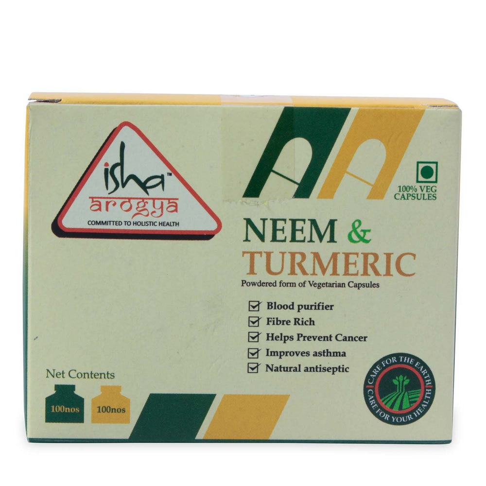 Neem & Turmeric Powder in Veg Caps Comb Pack, 100 pcs each - Isha Life AU