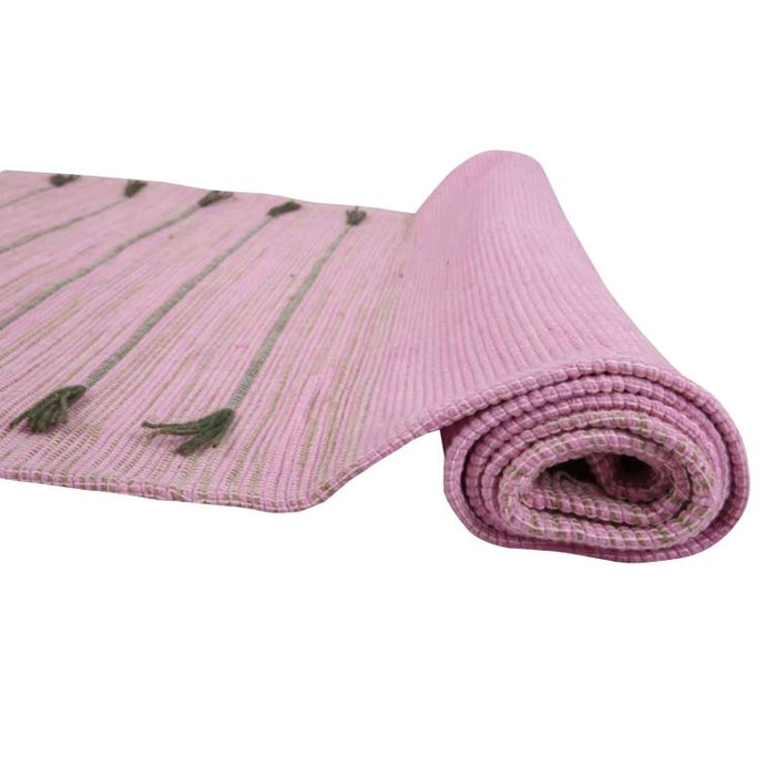 Cotton Hand Loomed Yoga Mat - Pink - Isha Life AU