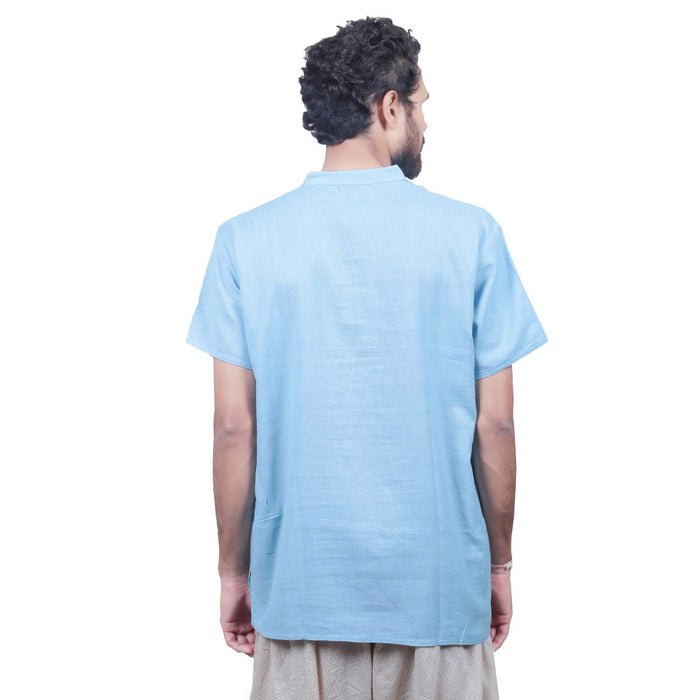 Men Sky Embroidered Aum Kurta - Organic Cotton - Isha Life AU