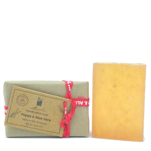 Poppy and Aloevera Handmade Transparent Soap (Sls Free), 125 gm