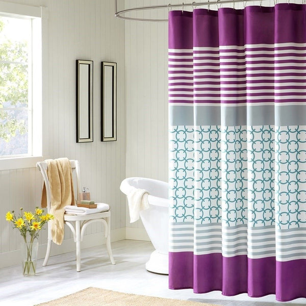 Luxury Purple Blue White Geometric W Stripes Fabric Shower Curtain