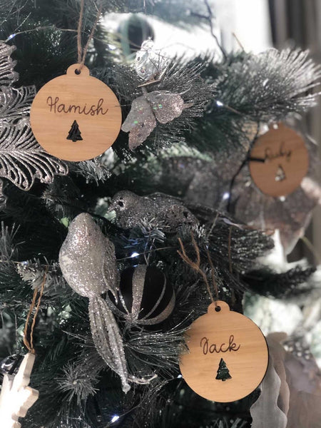 Tree wooden name bauble