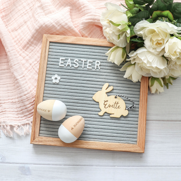 Wooden Easter bunny tag