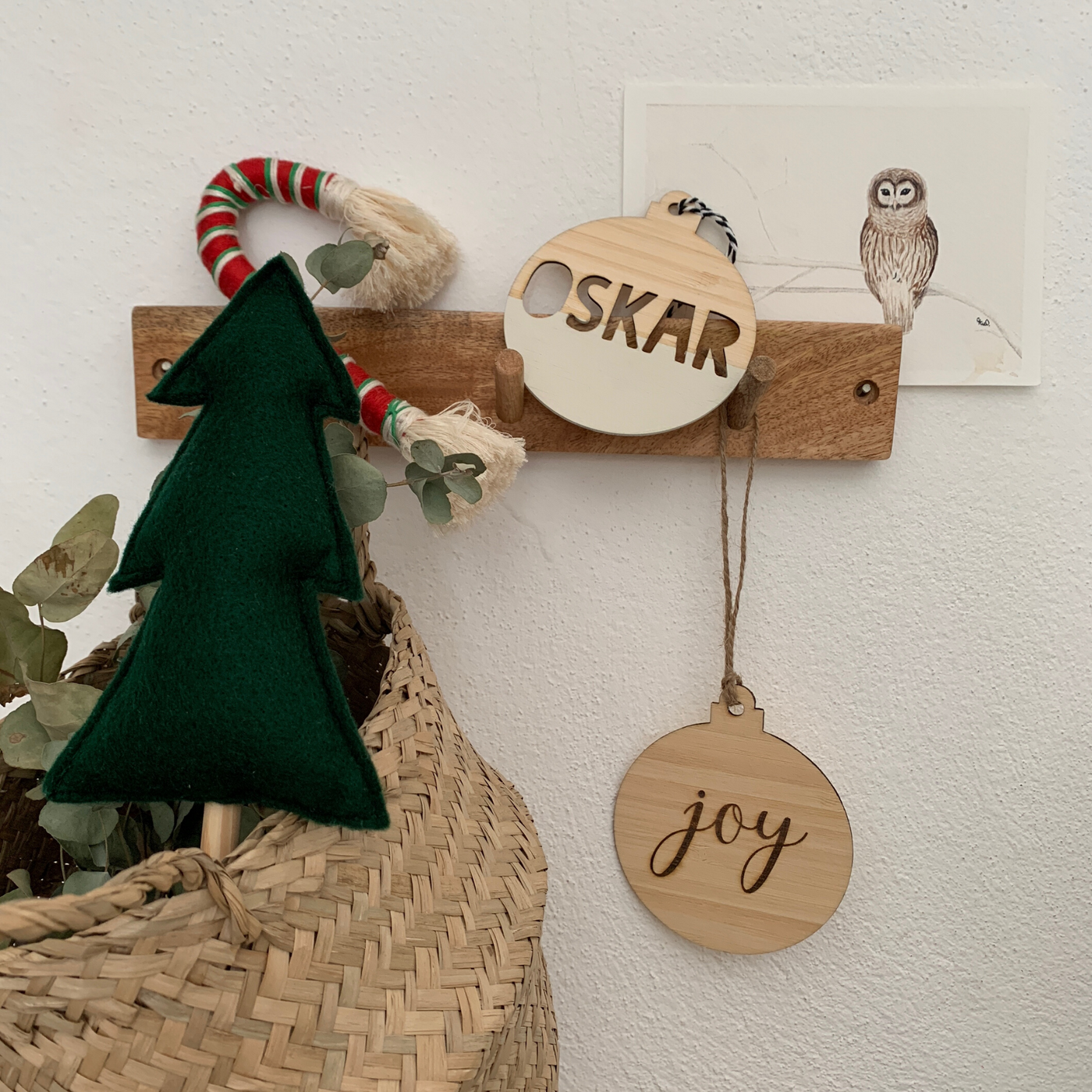 Christmas wooden name decoration