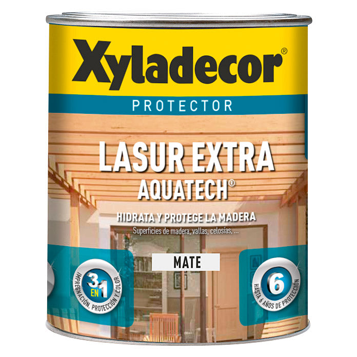 Protector para madera Xyladecor Lasur Extra Aquatech Mate Nogal 750ml