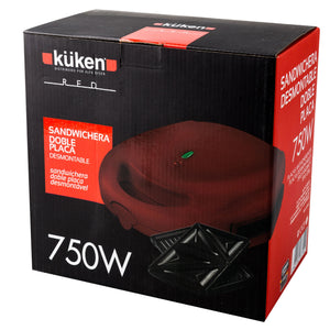 Sandwichera desmontable doble placa Küken Red 750W
