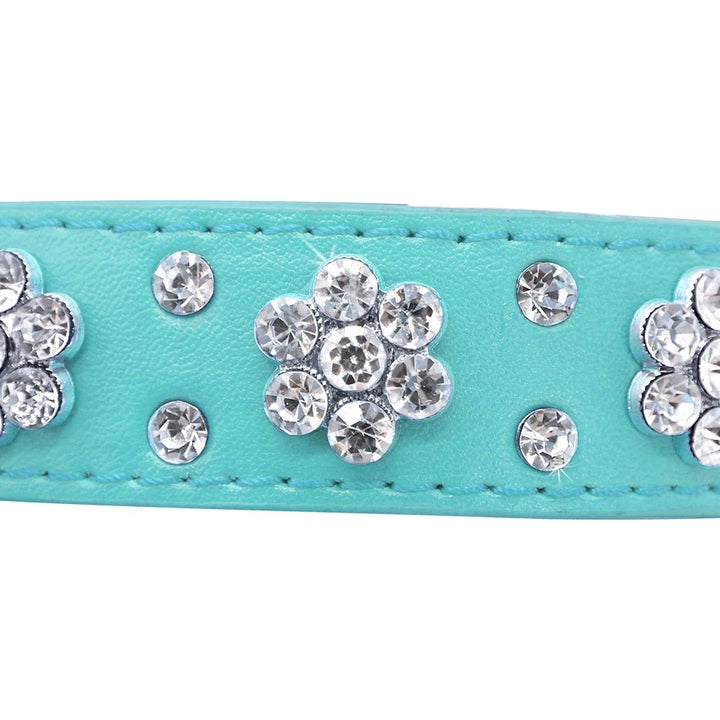 Leather Rhinestone Studded Collars 2.5cm Wide