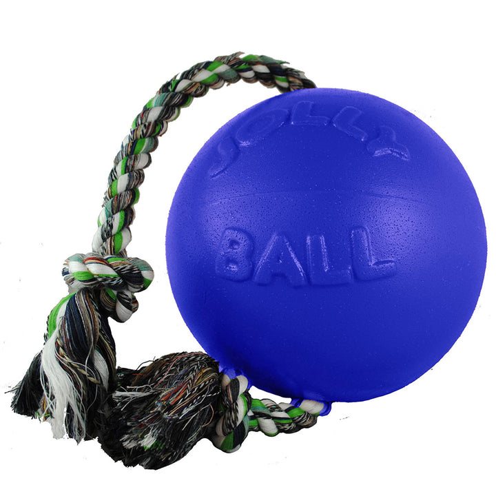 Jolly Pets Romp N Roll with Rope & Hard Plastic Ball Attached Fun Toy