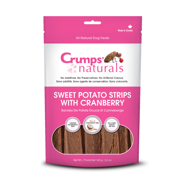 Crumps' Naturals Dog Sweet Potato Strips w/cranberry 5.6oz