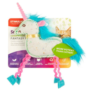 SmartyKat Fantasy Frenzy Crinkle Unicorn Catnip and Silvervine Cat Toy