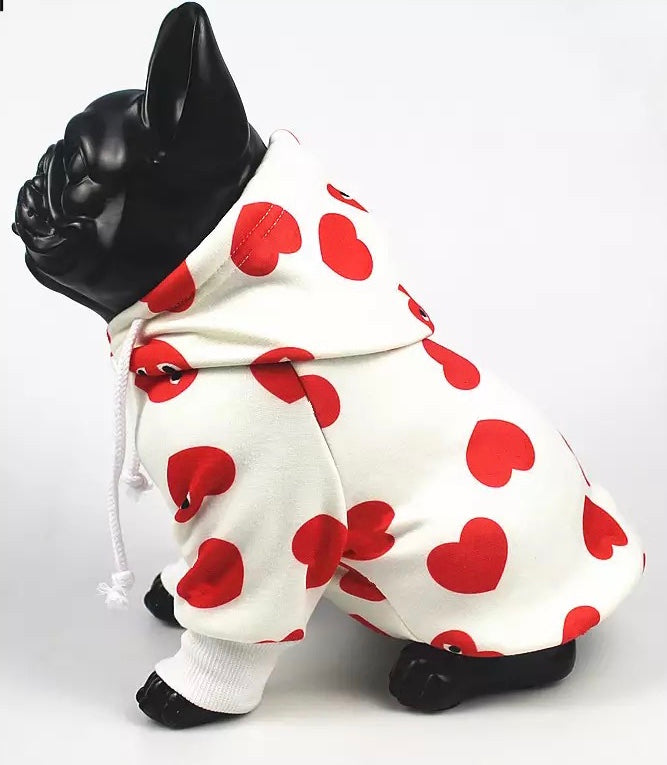 Very cute dog hoodie with hearts on it