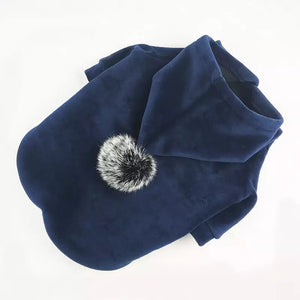 Plush Hoodie AAPE with PomPom Hood - Super Soft Dog Warm Hoodie Sweater Dog Coat