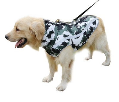White Camo Zippered Vest Dog Coat Fall & Winter 8 Sizes