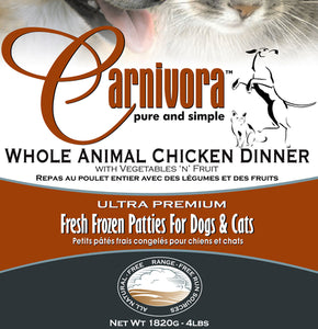 Carnivora Chicken Dinner w/fruit & veggies - 4 lbs of 8oz Patties