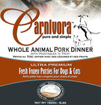 Carnivora Pork Dinner w / Vegetables n fruit 4lbs of 8oz patties