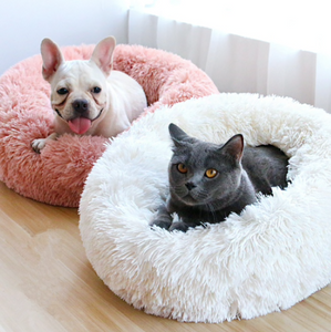Calming Donut Soft Fuzzy Dog Cat Bed