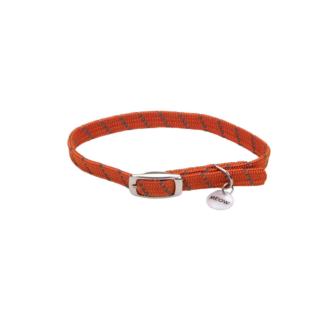 Coastal ElastaCat Reflective Safety Stretch Collar Reflective Charm Orange 3/8x10