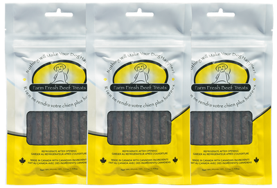 Farm Fresh Beef Treats - 100g of Soft Chewy Meaty Sticks