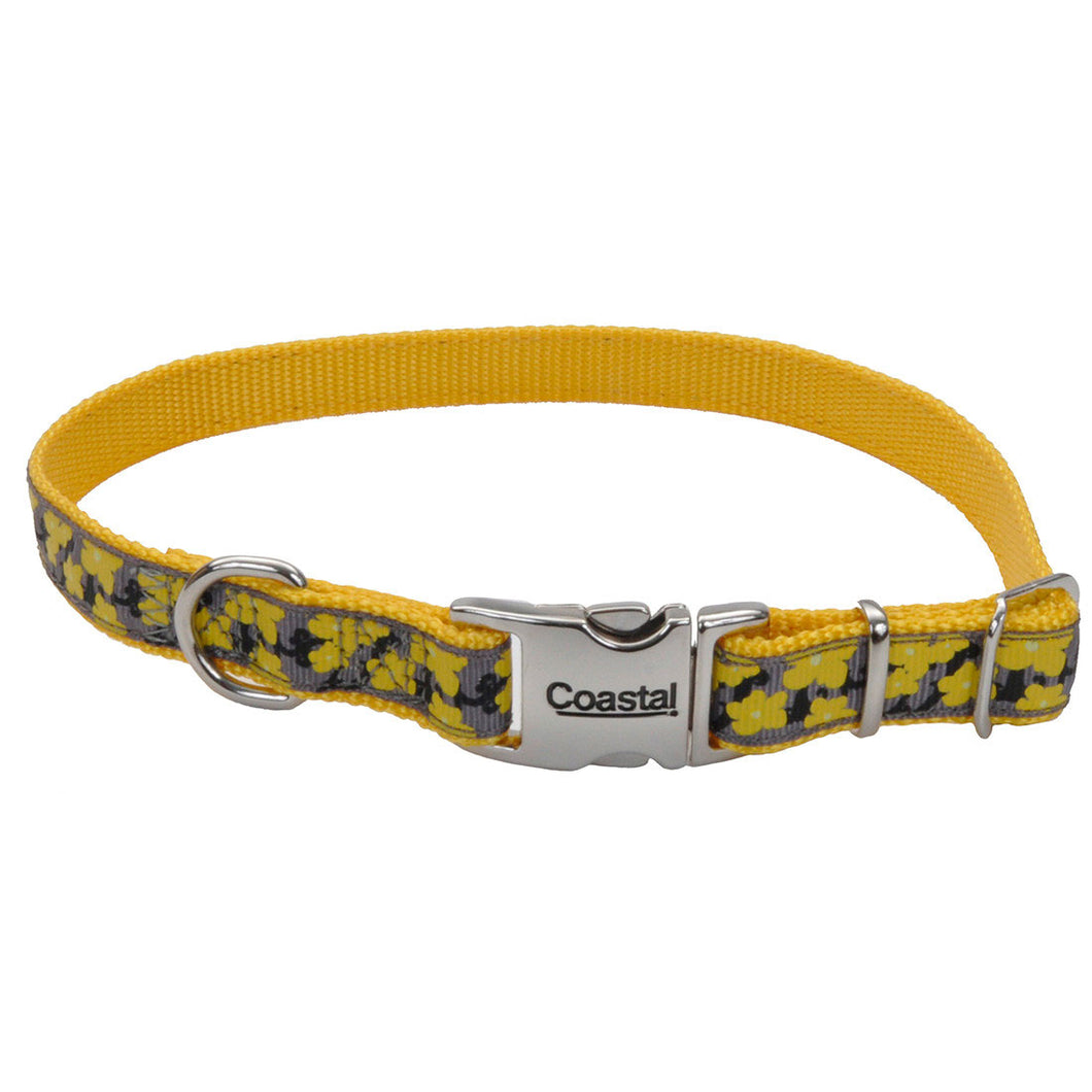 Ribbon Adjustable Dog Collar with Metal Buckle