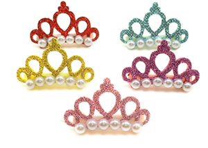 Faux Pearl Crowns w/Hair Clip - Assorted Colors