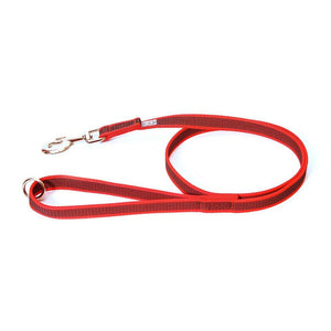 "JULIUS K9 Red & GRAY ""SUPER GRIP"" LEASH WITH HANDLE and ""O"" ring"