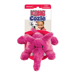 Cozie Elephant Kong pink fuzzy dog toy