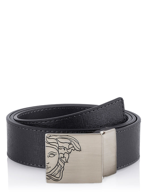 Versace belt with textured black leather - GLAMZE