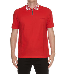 Versace Patterned Collar Polo Shirt