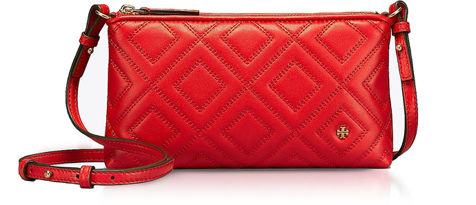 Fleming Exotic Red Quilted Leather Chain Crossbody Bag - GLAMZE