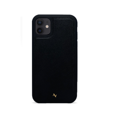 Black Leather IPhone 12 Case - MAAD Collective - Saffiano IPhone Personalized Case