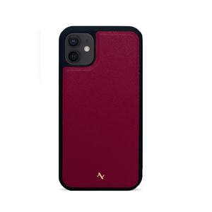 Red Leather IPhone 12 Case - MAAD Collective - Saffiano IPhone Personalized Case